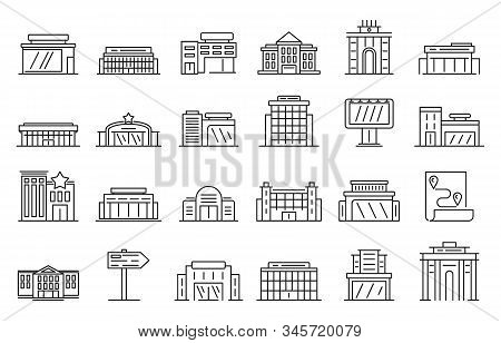 Exhibition Center Icons Set. Outline Set Of Exhibition Center Vector Icons For Web Design Isolated O