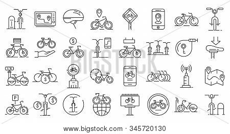 Rent A Bike Icons Set. Outline Set Of Rent A Bike Vector Icons For Web Design Isolated On White Back