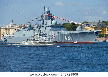 Saint Petersburg, Russia - July 25, 2019: Anti-sabotage Boat