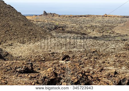 View At Multi Colored Volcanic Landscape In Timanfaya Nationalpark On Canary Island Lanzarote, Spain