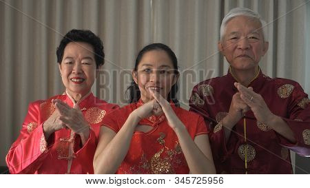 Chinese New Year Family Salute Etiquette Palm And Fist Gesture Bounding
