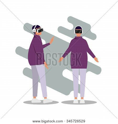 Virtual reality, Cartoon Woman Character Wearing VR Headset Glasses. Augment Reality. High Technology. Vector Flat Illustration virtual reality, virtual reality background, vr design