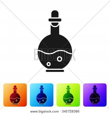 Black Glass Bottle With Magic Elixir Icon Isolated On White Background. Computer Game Asset. Set Ico