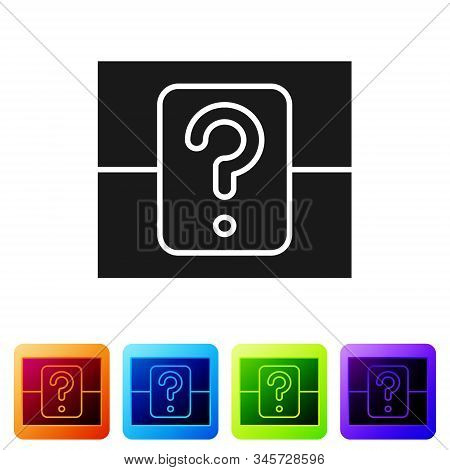Black Mystery Box Or Random Loot Box For Games Icon Isolated On White Background. Question Box. Set