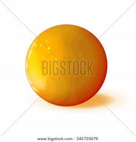 Golden Or Amber Glossy Textured In Streaks Sphere, Polished Ball. Orb Icon, Mock Up Yellow Red Color