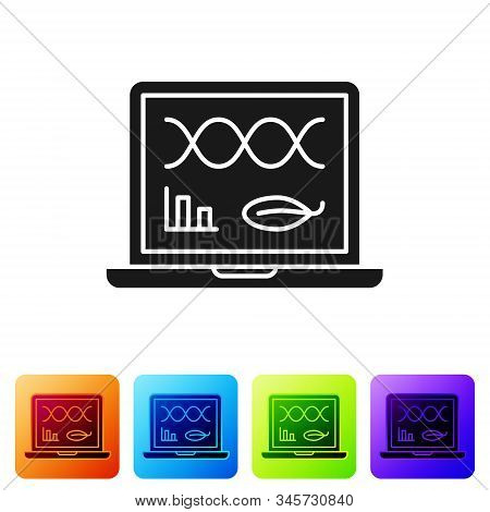 Black Genetic Engineering Modification On Laptop Icon Isolated On White Background. Dna Analysis, Ge