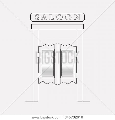 Saloon Door Icon Line Element. Vector Illustration Of Saloon Door Icon Line Isolated On Clean Backgr