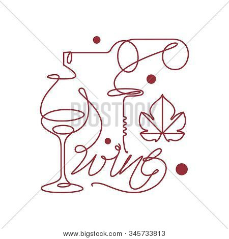 Glass And Bottle Of Wine, Grape Leaf And Corkscrew. Single Line Icon In Modern Style. Design Element