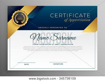 Elegant Blue And Gold Certificate Template Stylish Design Illustration