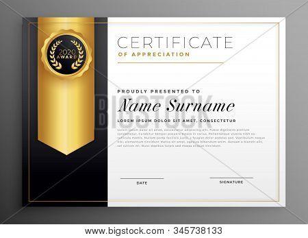 Golden Company Certificate Stylish Design Illustration Template