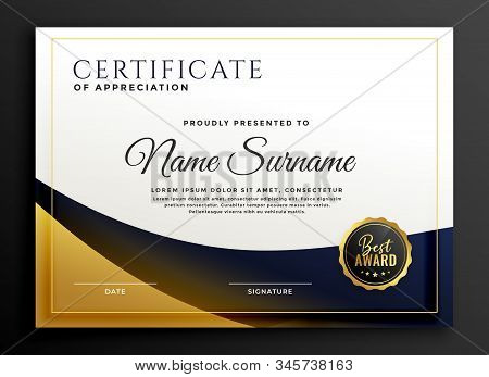 Certificate Template Award In Golden Stylish Design Illustration