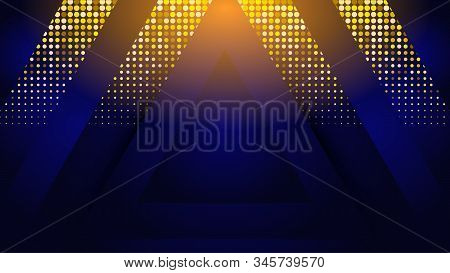 Futuristic Luxury Background With Glitter, Geometric Technology 3d Triangle Frame, Vector Abstract B