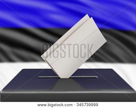 3d Illustration. Ballot Box With Estonian Flag On Background