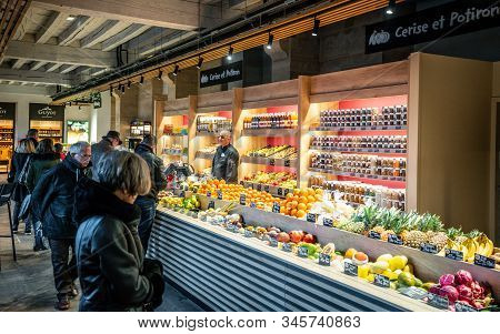 Lyon France , 2 January 2020 : Fruits And Vegetables Shop At Les Halles Du Grand Hotel-dieu A Covere