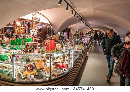 Lyon France , 2 January 2020 : Voisin French Chocolates Stall At Les Halles Du Grand Hotel Dieu A Co