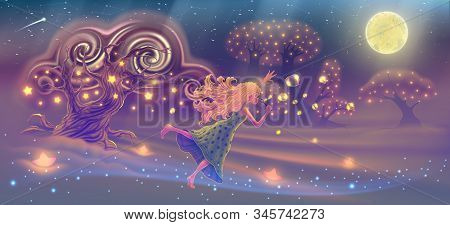 Fantasy Forest Landscape With Dreaming Girl Blowing Soap Bubbles In The Sky With Magic Trees, Stars,