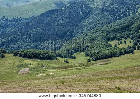 Chalet With Flock Of Sheep, View From Ploska Hill, Big Fatra, Slovak Republic. Hiking Theme. Seasona