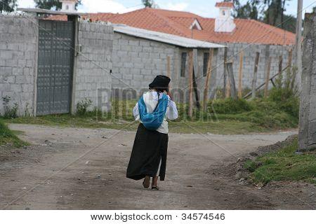 Editorial Use -Ecuadorian Woman in traditional clothing