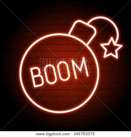 Boom Neon Sign. Glowing Neon Boom Inscription . Night Bright Advertisement. Vector Illustration For