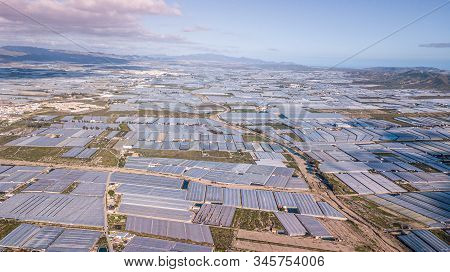 Drone Aerial View Of The Greenhouses In The Region Of Andalusia Mar Del Plastico Or Europes Plastic