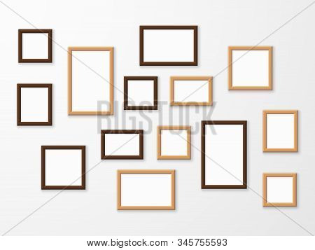 Wooden Frame. Wood Blank Picture Frames In Different Sizes On Wall. Museum Gallery Mockup Design, Ad