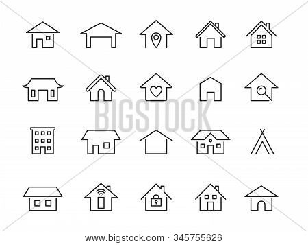 Home Line Icons. Modern Outline Houses App Signs. Website Interface And Hotel Buildings Residency Ve