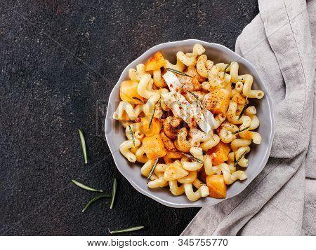 Fusilli Pasta With Pumpkin, Rosemary And Brie Cheese. Idea Recipe Pasta. Vegetarian Food. Homemade P