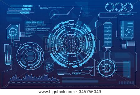 Hud Dashboard. Futuristic User Interface With Digital Infographics And Data Charts Vector Electronic