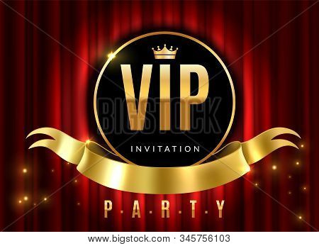 Vip Theatre. Golden Sign Of Event Premium Certificate Or Card On Red Luxury Curtains For Private Inv