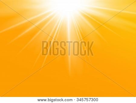 Rays Yellow Background. Gold Sunny Sky. Heat Sunburs, Hot Weather. Sunshine Orange Sky. White Warm S