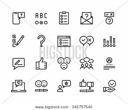 Survey Line Icons. Quiz And Checklist Stroke Pictograms, Customer Questionnaire And Feedback. Vector