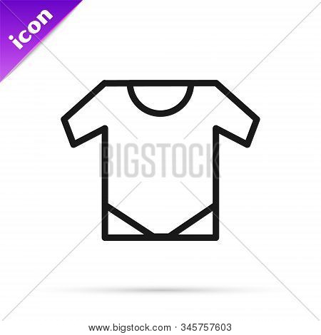 Black Line Baby Onesie Icon Isolated On White Background. Baby Clothes Symbol. Kid Wear Sign. Vector