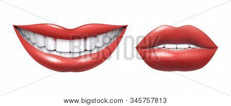 Realistic Smile. Woman Laughing Mouth With White Teeth And Lips, Oral Healthcare And Make Up Model.