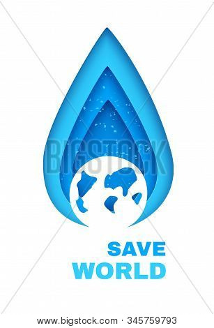 Water Shortage Concept Banner. Color Water Drop In Paper Cut Style With Silhouette Of Earth Planet.