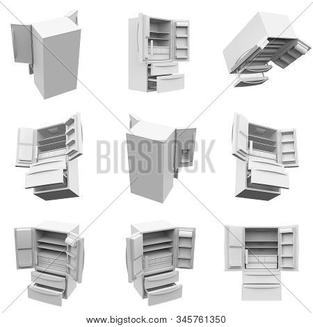 Refrigerator Isolated On The White Background 3d Rendering