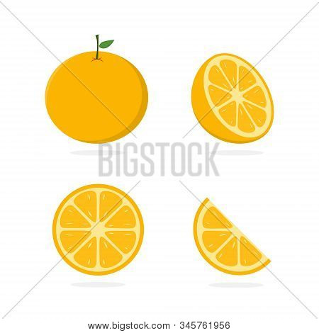 Orange Vector. Slice Of Lemon. Orange Illustration. Fresh Orange In Flat Minimalist Style