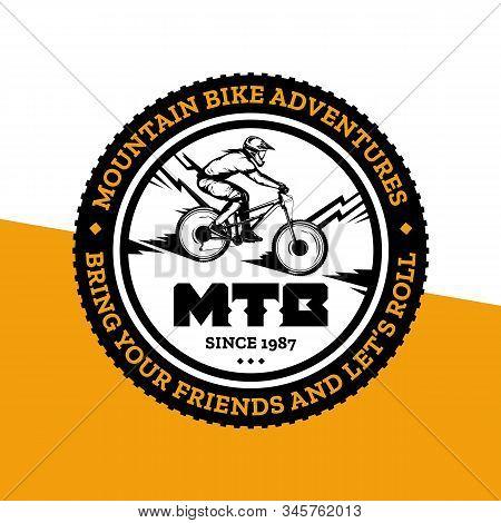Vector Mountain Biking Badge Design