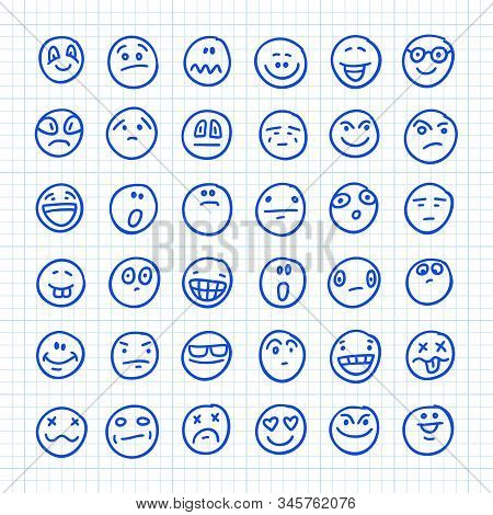 A Set Of Emoji Icons Drawn By Hand On Squared Paper: Part 05. Vector Doodle Illustration.