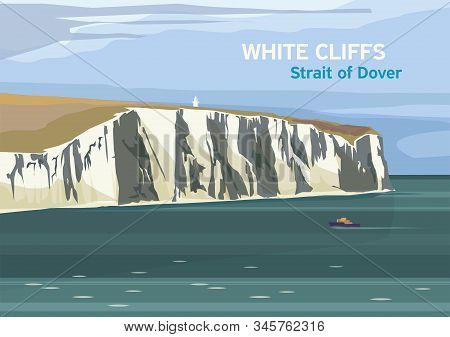 The White Cliffs Of Dover, Part Of The North Downs Formation, English Coastline, Strait Of Dover, Ve