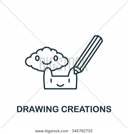 Creations Icon. Simple Line Element Creations Symbol For Templates, Web Design And Infographics