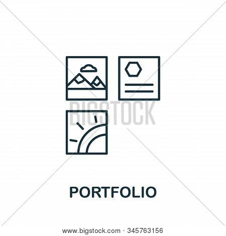 Portfolio Icon. Simple Line Element Portfolio Symbol For Templates, Web Design And Infographics