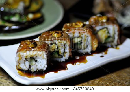 Maki, Beef Maki Or Beef Roll With Foie Gras Topping