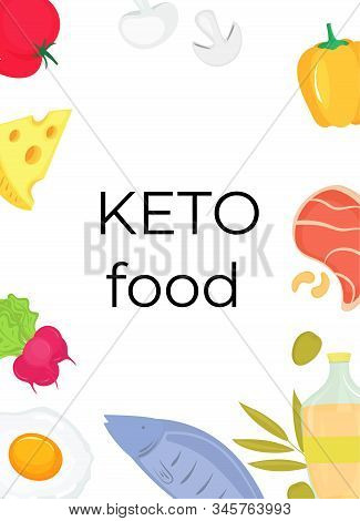 Keto Food Vertical Banner. Ketogenic Diet Concept. Low Carb, High Fat.