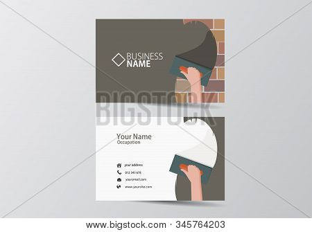 Trowel Plastering Modern Business Card. Facade Work Visiting Card Template Two Sides