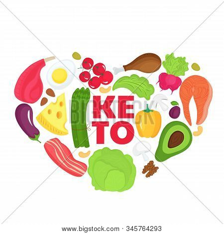 Keto Banner From Food Heart Shaped. Ketogenic Diet Concept. Healthy Menu. Low Carb, High Fat.