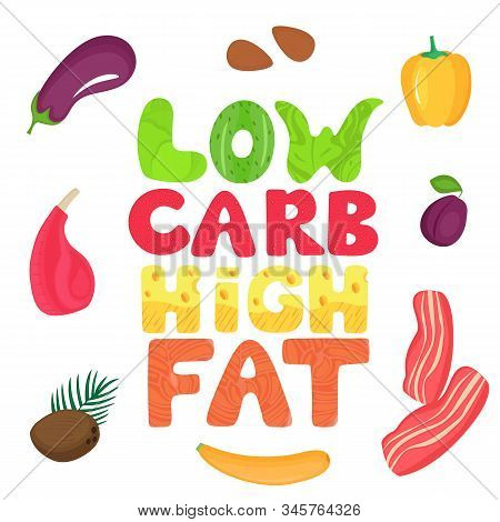 Keto Banner With Text From Food. Ketogenic Diet Concept. Healthy Menu. Low Carb, High Fat.