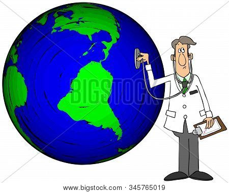 Illustration Of A Doctor Wearing A White Lab Coat Checking The Earth With A Stethoscope.