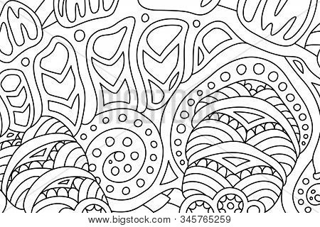 Beautiful Monochrome Illustration For Coloring Book With Abstract Linear Pattern With Ancient Fossil