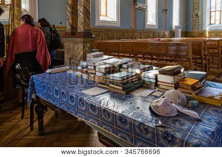 Kutaisi, Georgia, October 13, 2019 : Religious Books Lie On The Table In The Hall Of The Old Synagog