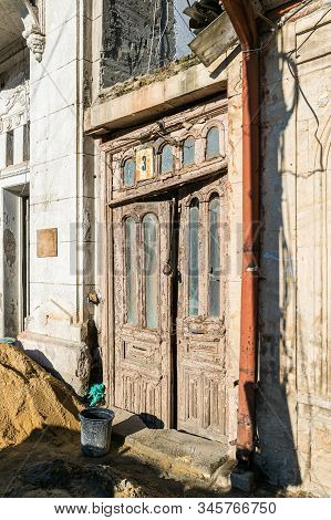 Kutaisi, Georgia, October 13, 2019 : Repair Work Near The Old Building On The Newport Street In The